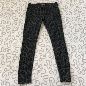 MOTHER Leopard Print The Looker Skinny Jeans